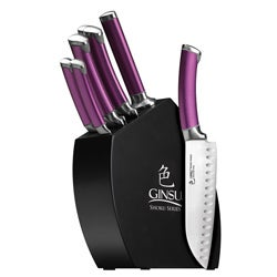 Ginsu Shoku Eggplant 8 Piece Cutlery Set with Black Hardwood Block