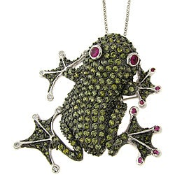 Dolce Giavonna Silver Overlay Cubic Zirconia Frog Pin Pendant
