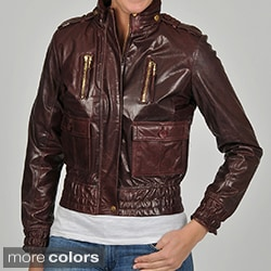 Knoles & Carter Women's ZigZag Placket Pleated Leather Jacket