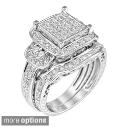Sterling Silver 3/4ct TDW White Diamond Halo Ring (G-H, I1)