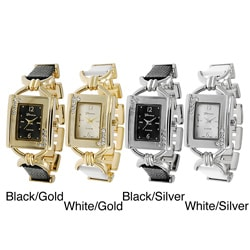 Geneva Platinum Women's Rhinestone-accented Faux Leather Link Watch