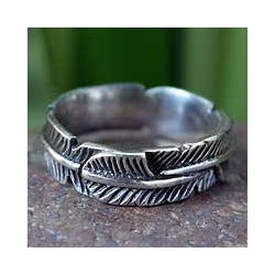 Sterling Silver 'Banana Leaf' Band Ring (Thailand)