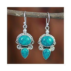 Sterling Silver 'Blue Muse' Magnesite Earrings (India)