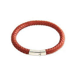 Men's Sterling Silver 'Brick Road' Leather Bracelet (Indonesia)