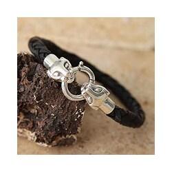 Silver 'Andean Jaguar' Leather Braided Bracelet (Peru)
