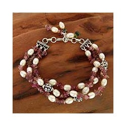 Sterling Silver 'Bihar Rose' Pearl Bracelet (6.5 - 7 mm) (India)