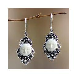 Sterling Silver 'Frangipani Moon' Cow Bone Flower Earrings (Indonesia)
