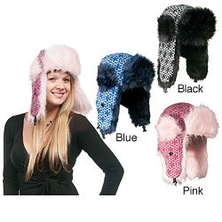 Cotton Blend Faux Fur-Lined Knit Aviator Hat (China)