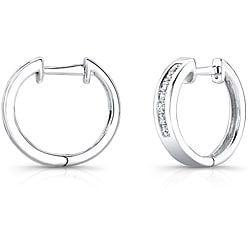 14k White Gold 1/2ct TDW Princess Diamond Hoop Earrings (H-I, I1)