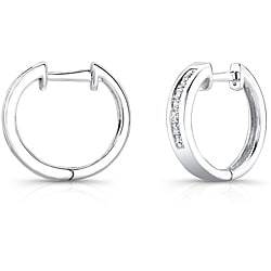 10k White Gold 1/4ct TDW Princess Diamond Hoop Earrings (H-I,I2-I3)