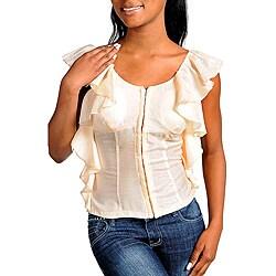 Stanzino Women's Cream Ruffled Top