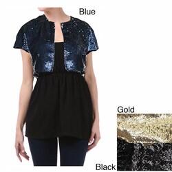 Tabeez Women's Sequin Bolero Jacket