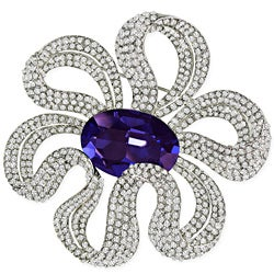 Cano Elegant Capri Blue Crystal Design Brooch