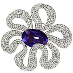 Elegant Capri Blue Crystal Design Brooch