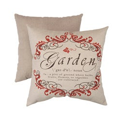Pillow Perfect Decorative Hand-Cut Linen/ Red French Crest Square Toss Pillow