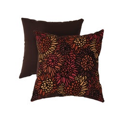 Pillow Perfect Decorative Brown/Orange Flocked Floral Square Toss Pillow