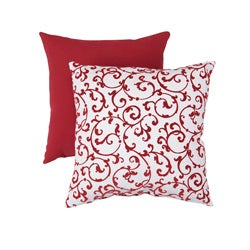Pillow Perfect Decorative Red/White Flocked Damask Square Toss Pillow