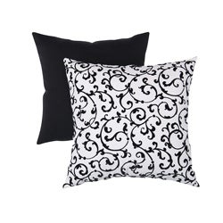 Pillow Perfect Decorative Black/White Flocked Damask Square Toss Pillow