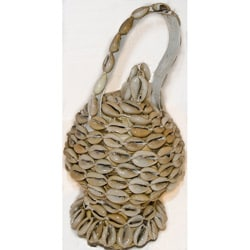 White Cowrie Shell Wicker Basket (Ethiopia)