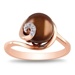 Miadora Pink Silver Freshwater Pearl and Diamond Accent Ring (9-9.5 mm)