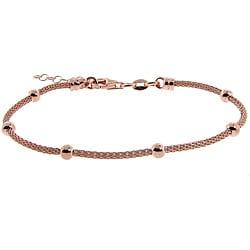 Eternally Haute Rose Gold over Silver Bead Mesh Bracelet