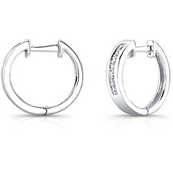 10k White Gold 1/2ct TDW Princess Diamond Hoop Earrings (H-I, I2-I3)