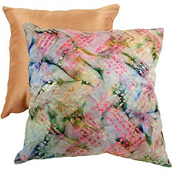 Pillow Perfect Decorative Multicolored New Age Flame Stich Square Toss Pillow