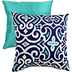 Pillow Perfect Decorative Blue/White Damask Square Toss Pillow