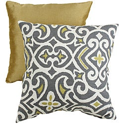 Pillow Perfect Decorative Grey/Yellow Damask Square Toss Pillow