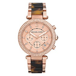 Michael Kors Women's MK5538 'Parker' Rosetone and Tortoise Resin Glitz Watch