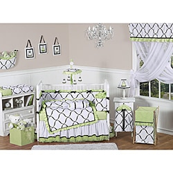 Sweet Jojo Designs Green, Black and White Princess 9-piece Crib Bedding Set