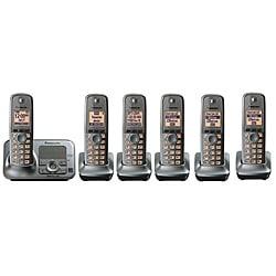 Panasonic KX-TG4136M DECT 6.0 Cordless Phone w/Digital Answering System/Metallic Gray/6 Handsets-Refurbished