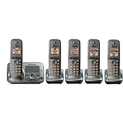 Panasonic KX-TG4135M DECT 6.0 Cordless Phone w/Digital Answering System/Metallic Gray/Includes 5 Handsets-Refurbished