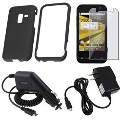 Black Case/ Screen Protector/ Charger for Samsung Conquer D600 4G