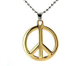 Stainless Steel Goldplated Peace Sign Ball Chain Necklace