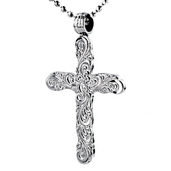 Steel Polished Floral Engraved-look Cross Necklace