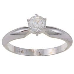 Victoria Kay 14k White Gold 1/2ct TDW Diamond Solitaire Engagement Ring (E-F, I1-I2)