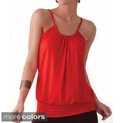 Illusion Spaghetti Strap Gathered Blouse