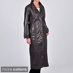Tibor Design Women's New Zealand Lamb Leather Full Length Swing Coat with Button Closure