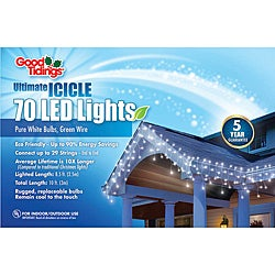 Good Tidings 23401 Icicle LED Nubs 70 White White Wire