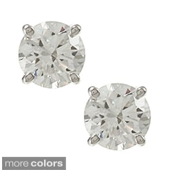 14k Gold 3/4ct TDW Round Diamond Hearts and Arrows Stud Earrings (E-F, SI1-SI2)