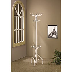 White Finish Metal Coat Rack Hanger with Umbrella Stand