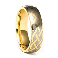 Men's Tungsten Carbide Gold Laser-etched Weave Ring (7 mm)