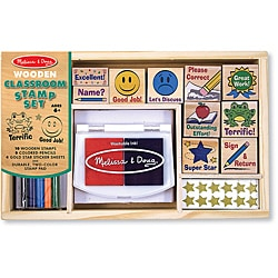 Melissa & Doug Classroom Stamp Set with Pencils, Stickers, Stamp Pad