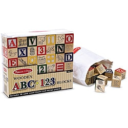 Melissa & Doug Wooden ABC/123 Blocks Set