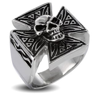 Stainless Steel Men's Iron Cross with Skull Ring