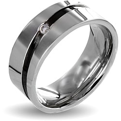 Stainless Steel Cubic Zirconia Men&#39;s Black Stripe Wedding Band