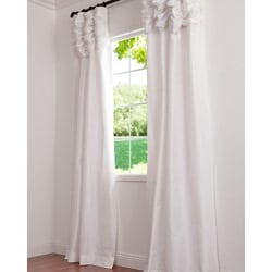 Ruched Header Eggshell Solid Color Faux Silk Taffeta 108-inch Curtain Panel