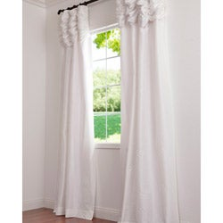Ruched Header Eggshell Solid Color Faux Silk Taffeta 84-inch Curtain Panel