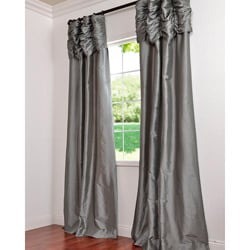 Graphite Ruched Header Faux Silk Taffeta Curtain Panel 96-inch